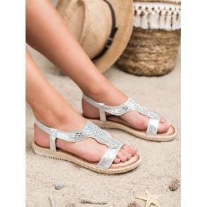 Krásné stříbrné sandálky se zirkony a pletencem v lemu