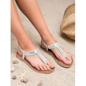 Dámské stříbrné sandály japonky s kamínky a na nízké podrážce