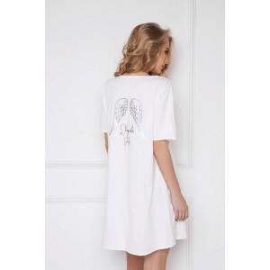 Dámská bílá noční košile s potiskem křídel