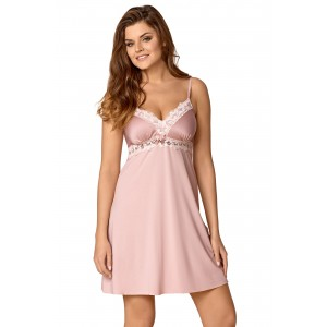 Romantická dámská noční košile v růžové barvě