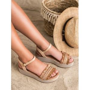 Tmavě béžové dámské sandály s třásněmi a na platformě