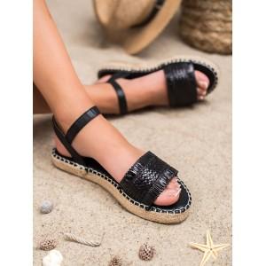 Černé dámské sandály na pletencový paltformě s vázáním na řemínek