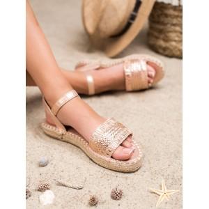 Originální dámské růžové metalické sandály na platformě espadrilky