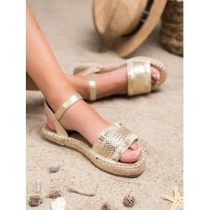 Stylové dámské zlaté sandály na pletencový platformě