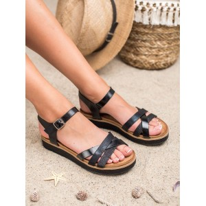 Originální dámské černé sandály na třpytivé platformě