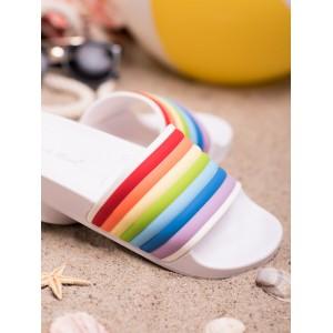 Trendy dámské bílé gumové nazouváky s barevným duhovým designem