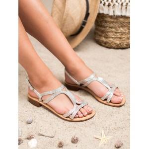 Stříbrné dámské sandály na nízkém podpatku s vázáním na řemínek