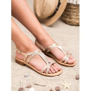 Hezké dámské zlaté sandály s asymetrickými pásy