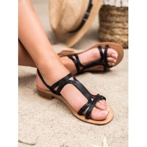 Černé dámské sandály na nízkém podpatku
