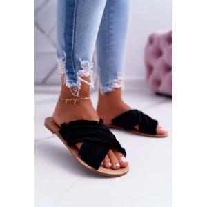Stylové černé dámské pantofle originálního designu s třásněmi