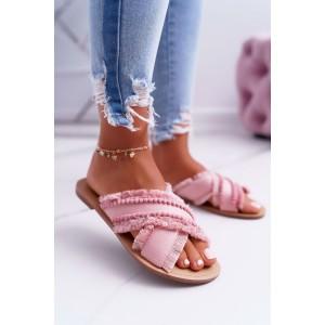 Trendy dámské růžové pantofle s ozdobnými kuličkami a třásněmi