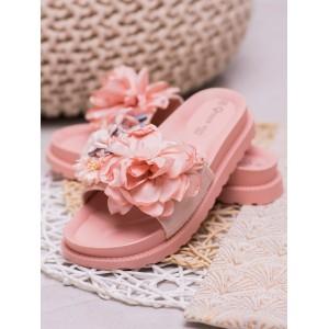 Stylové dámské růžové pantofle na gumové platformě s vintage designem