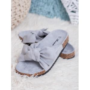 Originální dámské korkové dřeváky s šedou trendy mašlí
