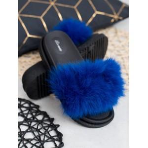 Královsky modré kožešinové dámské nazouváky na gumové platformě