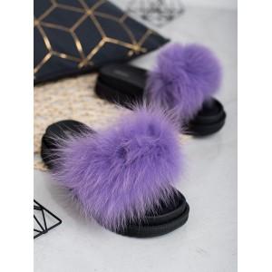 Stylové dámské pantofle na platformě s módní kožešinou fialové barvy