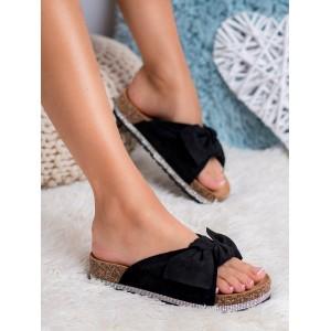 Dámské černé korkové pantofle s mašlí a ozdobnými zirkony