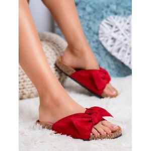Červené dámské semišové nazouváky dřeváky s ozdobnou mašlí