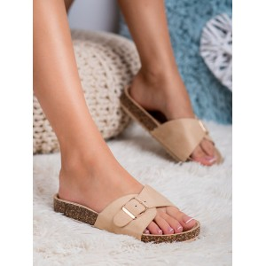 Dámské béžové korkové pantofle dřeváky se zlatou přezkou