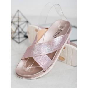 Letní dámské gumové nazouváky v růžovo brokátové barvě