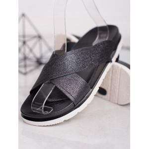 Dámské černé gumové lesklé pantofle na pláž na platformě
