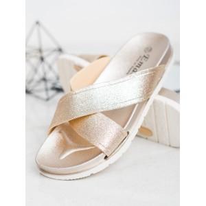 Originální dámské gumové zlaté pantofle na platformě