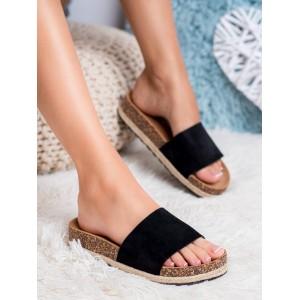 Jednobarevné černé dámské pantofle na korkové podrážce s pletencem