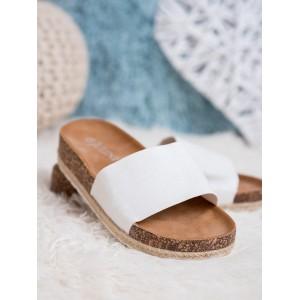 Bílé dámské semišové nazouváky dřeváky s pletencový lemem