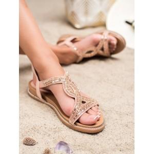 Semišové dámské růžové sandály se zirkony a s druky na platformě