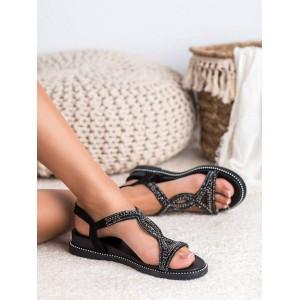 Černé dámské sandály na platformě s kamínky a ozdobným lemem