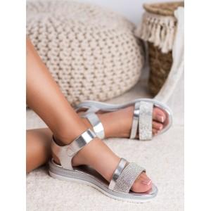 Stylové dámské stříbrné sandály na platformě se zirkony
