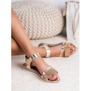 Zlaté dámské kamínkové sandály na platformě s vázáním na řemínek