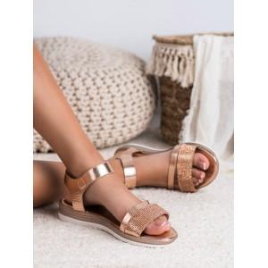 Růžově zlaté dámské sandály ozdobené zirkony a na platformě