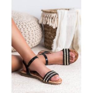 Černo zlaté sandály se zapínáním na řemínek