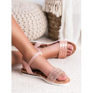Stylové dámské sandály nízké brokátově růžové s krystalky