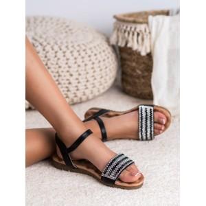 Stylové dámské černé sandály se zirkómni a zapínáním na řemínek