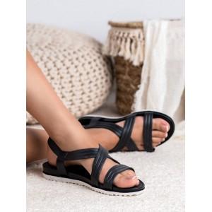 Pohodlné dámské černé gumové sandály na bílo černé podrážce