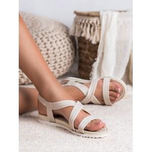 Trendy bílo béžové gumové dámské sandály k vodě