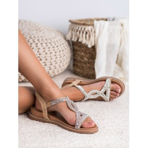 Luxusní dámské nízké béžové sandály s ornamentem se zirkony