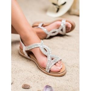 Dámské stříbrné sandály se zirkony