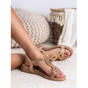 Béžovo zlaté dámské sandály s trendy zirkony a na platformě