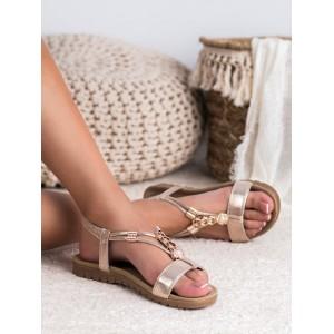 Elegantní dámské zlaté sandály se zlatou ozdobnou aplikací