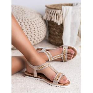 Dámské zlaté sandály zdobené krystalky a perličkami