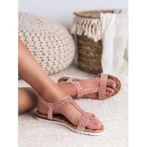 Elegantní dámské sandály v růžové barvě s perličkami a zirkony