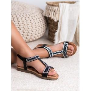 Originální dámské nízké černé sandály s trendy zirkony a perličkami