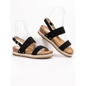 Pohodlné dámské semišové černé sandály na korkové podrážce