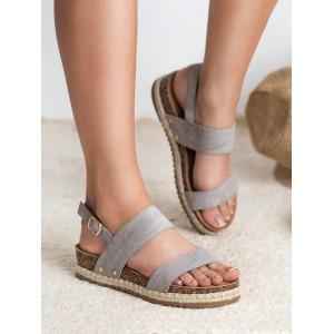 Dámské šedé sandály na korkové podrážce s pletencem