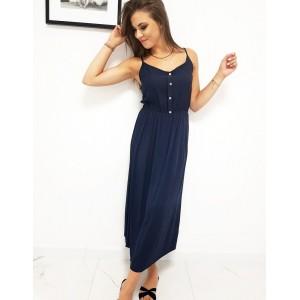 Trendy dámské dlouhé tmavě modré dámské šaty s knoflíky