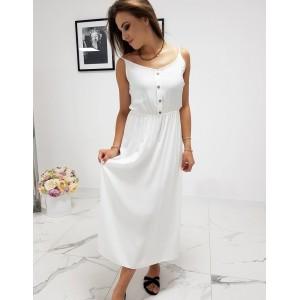 Stylové dámské bílé maxi šaty s designovými knoflíky
