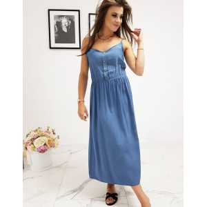 Originální dámské modré šaty rovného střihu a s designovými knoflíky