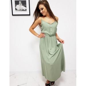 Světle zelené dámské dlouhé šaty s trendy designovými knoflíky